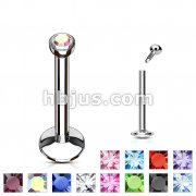 Press Fit Gem Ball Internally Threaded 316L Surgical Steel Labret/Monroe with 4mm Cambered Bas