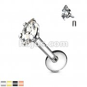 Marquise CZ 316L Internally Threaded Labret, Monroe, Cartilage Stud Rings