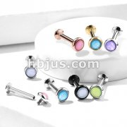 Illuminating Stone Flat Set Top Internally Threaded 316L Surgical Steel Labret, Monroe Studs for Ear Cartilage, Chin, Lip and More