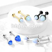 Opal Spike Top 316L Surgical Steel Internally Threaded Labret Studs for Chin Monroe, Ear Cartilage, and More