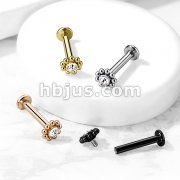Steel Balls Around Gem set Ball Top 316L Surgical Steel Internal Thread Flat Back Studs for Labret, Monroe, Ear Cartilage and More