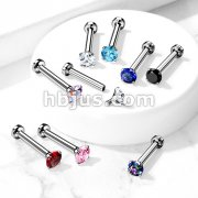 CZ Prong Set Top Internally Threaded Micro Base316L Surgical Steel Labret, Flat Back Studs For Lip, Chin, Nose and More