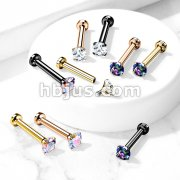 CZ Prong Set Top Internally Threaded PVD Over Micro Base316L Surgical Steel Labret, Flat Back Studs For Lip, Chin, Nose and More