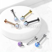 Claw Set Opal Ball Internally Threaded 316L Surgical Steel 2.5mm Micro Base Labret, Flat Back Studs