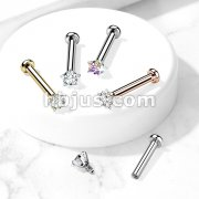 Star CZ Prong Set Top Internally Threaded Micro Base 316L Surgical Steel Labret, Flat Back Studs For Lip, Chin, Nose and More