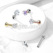 Heart CZ Prong Set Top Internally Threaded Micro Base 316L Surgical Steel Labret, Flat Back Studs For Lip, Chin, Nose and More
