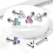 CZ Triangle Prong Set Internally Threaded Top 316L Surgical Steel Labret, Flat Back Studs