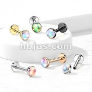 Iridescent Stone Top on Internally Threaded 316L Surgical Steel Flat Back Studs for Labret, Monroe, Cartilage and More