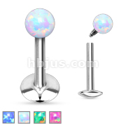Opal Ball Top Internally Threaded 316L Surgical Steel Labret/Monroe