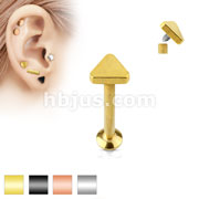 Triangle Top Internally Threaded 316L Surgical Steel Labret, Monroe, Cartilage Studs