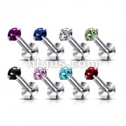 316L Surgical Steel Internally Threaded Labret with Prong Set Gem Top 160pc Pack (20pcs x 8 colors)