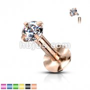 Round Prong Top Gem Labret Monroe Titanium IP Over 316L Stainless Steel Internally Threaded