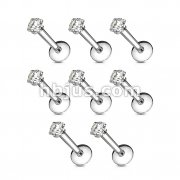 100 Pcs Internally Threaded Labret/Monroe with Clear Square CZ Prong Set Top Bulk Pack