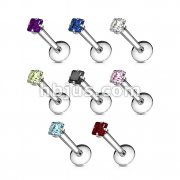 316L Surgical Steel Internally Threaded Labret with Dia Cut Prong Set Gem Top 160pc Pack (20pcs x 8 sizes)