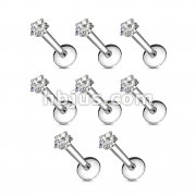 100 Pcs Internally Threaded Labret/Monroe with Clear Star CZ Prong Set Top Bulk Pack