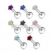 316L Surgical Steel Internally Threaded Labret with Star Prong Set Gem Top 160pc Pack (20pcs x 8 colors)