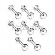 100 Pcs Internally Threaded Labret/Monroe with Clear Hear CZ Prong Set Top Bulk Pack
