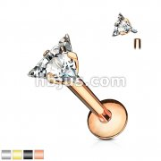 Triangle CZ Prong Set 316L Internally Threaded Labret, Monroe, Cartilage Stud Rings
