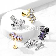 5 Marquise CZ Fan Set Curved Top with Internally Threaded All316L Surgical Steel Flat Back Studs with Extended Threading for Labret, Monroe, Cartilage and More