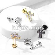6 CZ Cross Top with Internally Threaded All316L Surgical Steel Flat Back Studs with Extended Threading for Labret, Monroe, Cartilage and More