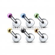 316L Surgical Steel Internally Threaded Monroe with Micro Titanium PVD 2mm Balls 60pc Pack (10pcs x 6 colors)