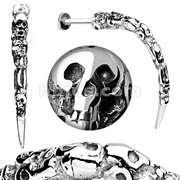 Skull Carved Long Claw Labret 316L Surgical Steel