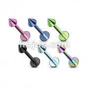 Titanium IP over 316L Surgical Stainless Steel Labret /Monroe with Spikes 120pc Pack (20pcs x 6 colors)