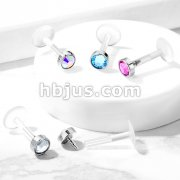Round Crystal Flat Set 316L Surgical Steel Top Bio Flex Flat Back Studs for Labret, Monroe, Ear Cartilage, and More