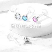 Illuminating Stone Set 316L Surgical Steel Top Bio Flex Flat Back Studs for Labret, Monroe, Ear Cartilage, and More