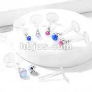 Opal Stone Flat Set 316L Surgical Steel Top Push InBio Flex Flat Back Studs for Labret, Monroe, Ear Cartilage, and More