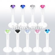PTFE  Labret/Monroe with 2mm Gem in Clear Prong Top 180pc (20pcs x 9 colors)