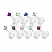 Square Dia Cut CZ Gem Flexible Shaft Labret Monroe 180pc Pack (20pcs x 9 colors)