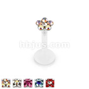 6 Gem Flower Top Flexible Shaft Labret Monroe Stud