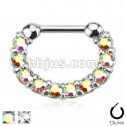 Single Line Paved Gem 316L Surgical Steel Septum Clicker
