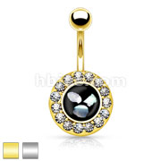Crystal Paved Round Circle with Mother of Pearl Inlaid Center 316L Surgical Steel Belly Button Rings