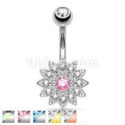 Petite Crystal Paved Flower with Crystal  Center 316L Surgical Steel Belly Button Rings