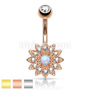Petite Crystal Paved Flower with Opal Center 316L Surgical SteelBelly Button Rings