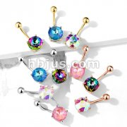 AB Effect Prong Set Round Crystal 316L Surgical Steel Belly Button Navel Rings