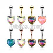 80 pcs AB Effect Heart Stone Prong Set 316L Surgical Steel Belly Ring Bulk Pack (10 pcs x 8 Colors)