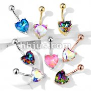 AB Effect Prong Set Heart Crystal 316L Surgical Steel Belly Button Navel Rings