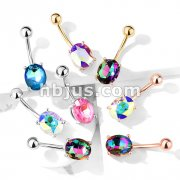 AB Effect Prong Set Oval Crystal 316L Surgical Steel Belly Button Navel Rings