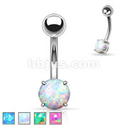 Basic Non Dangle Opal Prong Set Belly Navel Ring
