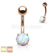 Basic Non Dangle Opal Prong Set 316L Surgical Steel Plated Belly Navel Ring