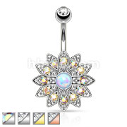 Paved Gems Flower with Center Opal Gem Navel Ring