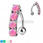 Vertical Drop Opal Set Top Down 316L Surgical Steel Navel Ring