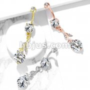 Gemmed Leafs with Large Round CZ Dangle 316L Surgical Steel Belly Button Navel Rings