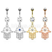24 Pcs CZ Centered Hamsa Dangle on 316L Surgical Steel Belly Button Rings with Prong Set CZ Bulk Pack (6 pcs x 4 Colors)
