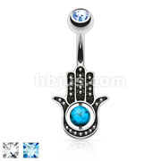 Dozen Pack Hamsa Hand with Turquoise 316L Surgical Steel Navel Ring