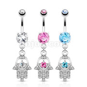 Dozen Pack Hamsa with Colored CZ and Crystal Paved Dangle Navel Rings