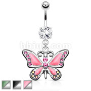 Butterfly Dangle with Gems 316L Surgical Steel Navel Ring